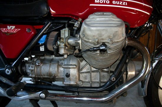 1973 Moto Guzzi V7 Sport Red R Engine