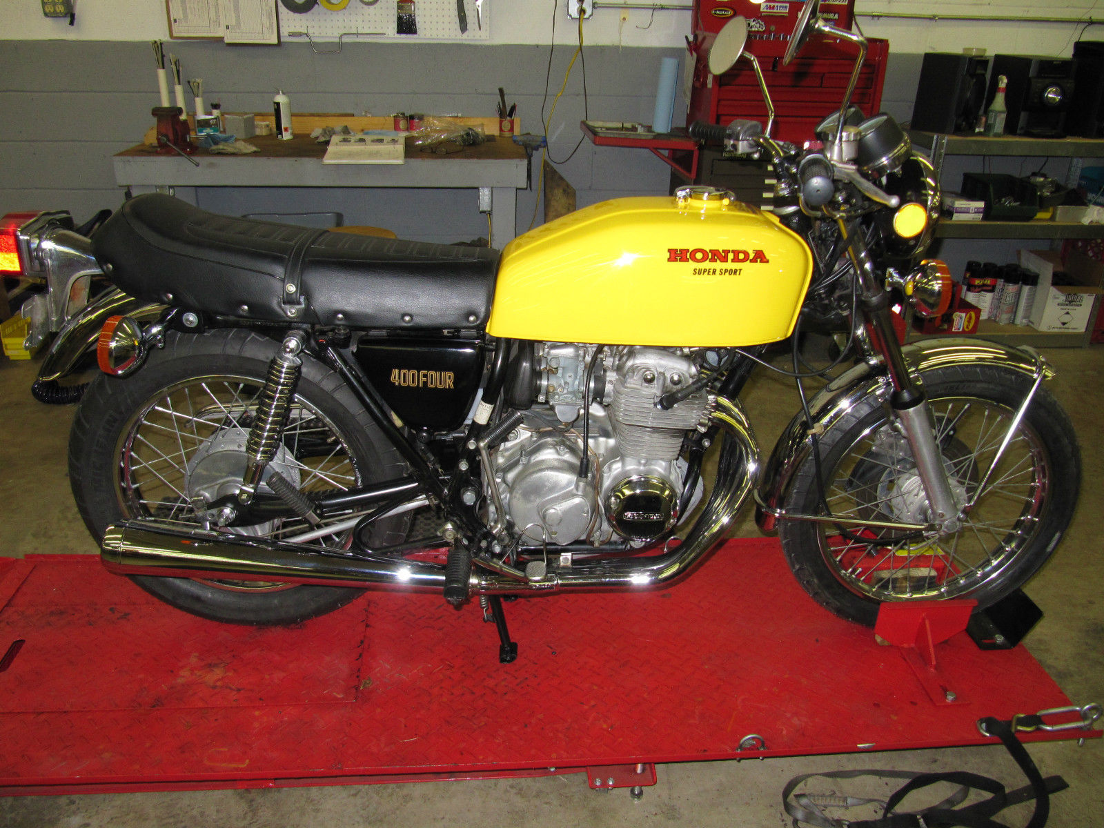 Bikes 1975 Cb400f Supersport Honda CB Yellow Right